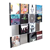 Design CD-Wand / CD Wandregal / CD Wandhalter / CD Halter - CD-Wall Square 4x4 für 16CDs zur sichtbaren Präsentation Ihrer Lieblings Cover an der Wand