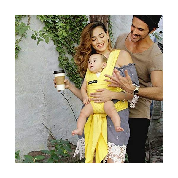 9-in-1 CuddleBug Baby Wrap Sling + Carrier - Newborns & Toddlers up to 36 lbs - Hands Free - Gentle, Stretch Fabric - Ideal for Baby Showers - One Size Fits All (Yellow) CuddleBug 9 WRAPS IN ONE - 9 different ways to comfortably carry your baby HANDS FREE! Newborn hold, breastfeed sling, front carry, side carry, back carry, cross carry, hip carry, kangaroo carry, side sling. GET THINGS DONE WHILE BONDING - Develop strong emotional bonds and constant stimulation with the flexibility and freedom to go where you want and get things done. COMFORTABLE AND SECURE - Support your baby in this MACHINE WASHABLE buckle-free, ring-free, Premium blend of 95% Cotton, 5% spandex. As gentle as wearing a T-shirt but strong enough to support your baby's head. 7