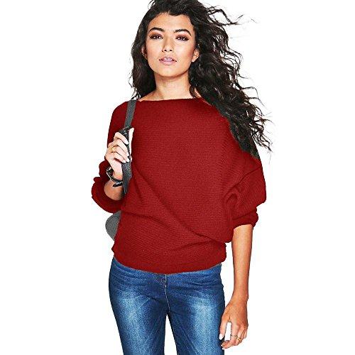 Vovotrade Le donne pipistrello manica lavorato a maglia allentato maglione (S, Rosso)