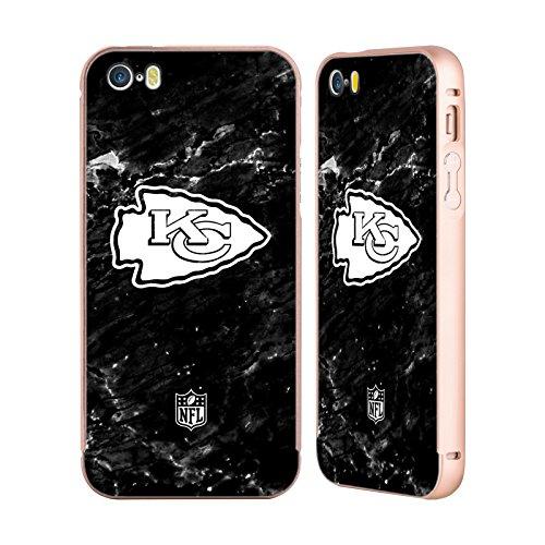 Ufficiale NFL Righe 2017/18 Kansas City Chiefs Oro Cover Contorno con Bumper in Alluminio per Apple iPhone 5 / 5s / SE Marmo