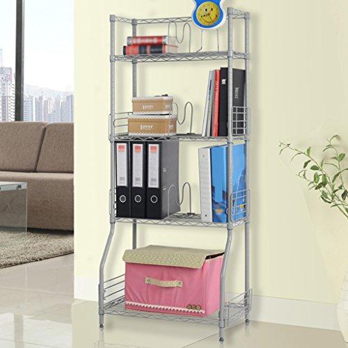 LANGRIA 4-Tier Wire Bookcase Met...
