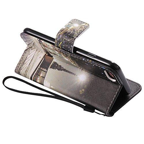 Portafoglio Custodia iPhone 7 Colore, Aeeque Barca a Vela Design Flip PU Pelle Wallet a Libro Stand Copertura Flip Cover Case Protettiva Antiurto da Esterno con Chiusura Magnetica Porta Carte di Credi Modello #13