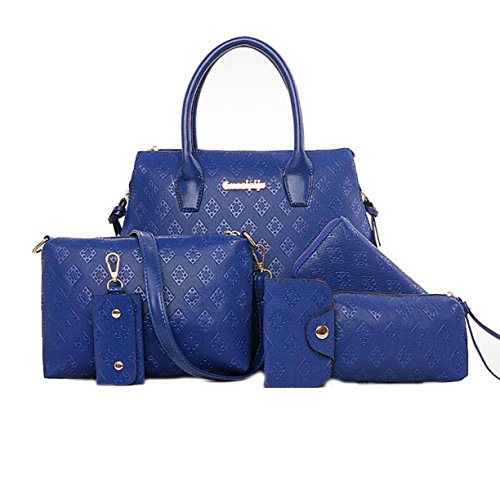 Frauen PU Handtaschen Europa Und US Große Kapazität Schulter Diagonal Tasche Multifunktions Wallet Blue