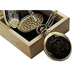 The Beatles Signed Pocket Watch 24kt Gold Coated Luxury Gift in Wooden Box John Lennon Ringo Starr Paul Mccartney George Harison