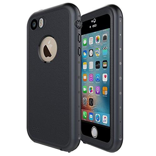 iPhone SE Custodia Impermeabile, HWeggo IP68 Certificato Subacquea a prova di acqua Completamente Sigillato Custodia per Apple iPhone SE/5/5S (Nero)