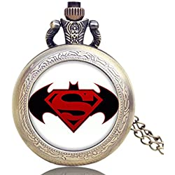 "BATMAN VS SUPERMAN LOGO Antique Bronze Effect Retro/Vintage Case Men's Quartz Pocket Watch Necklace - On 32"" Inch / 80cm Chain"