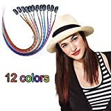 Lunga piuma Sythetic clip in Hair extensions evidenzia Parrucchino colorato per Fashion Girl 12PCS/set