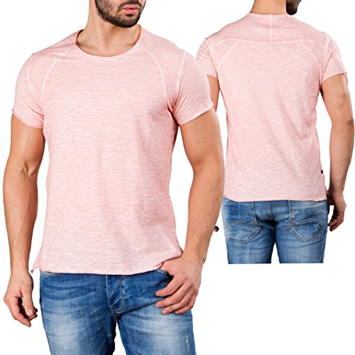Red Bridge Uomo Maglieria / T-shirt Flamed Frame Vintage Used-Look Rosa chiaro
