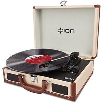 ION Audio Vinyl Motion Deluxe - Tourne-disque valise de luxe, portable et rechargeable - Deluxe Cream