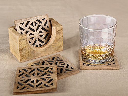 aheli Untersetzer aus Holz Geometrische Form Halterung Set für Drink Holz Bar Untersetzer Tee...