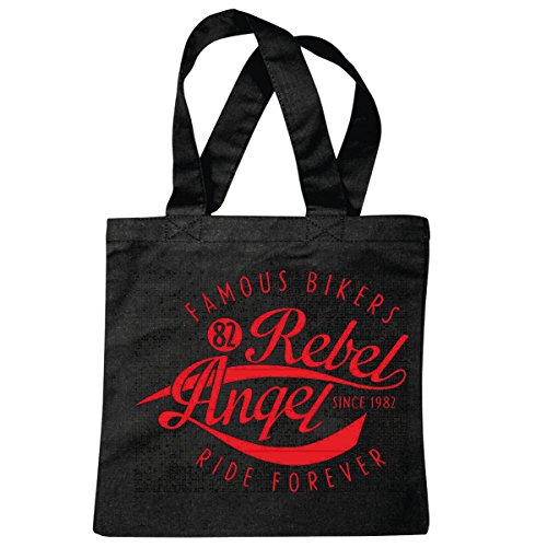 sac à bandoulière FAMOUS BIKERS RIDE REBEL ANGEL FOREVER SHIRT BIKER MOTO CLUB CHOPPER Motorradfahrer BIKER BIKER SHIRT MOTO CHOPPER MOTO GOTHIQUE SKULL MOTO CLUB BIKE ROUTE 66 Sac école Turnbeutel