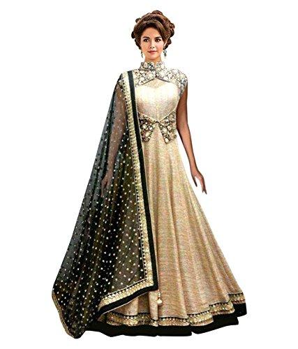 Rangrasiya Women\'s Silk Anarkali Salwar Suit Set (Chiku-Koti-105_Chiku_Free Size)