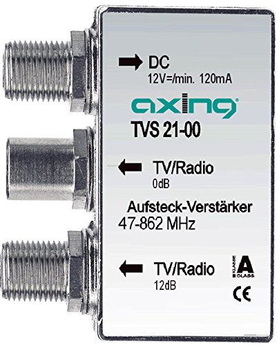 Axing TVS 21-00 Aufsteck-Verstärker 12 dB Verteil-Verstärker Kabelfernsehen UKW DVB-T2 HD