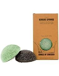 Kings of Sweden Éponge de konjac bambou e aloe vera (lot de 2 éponges) pour les types de peau sensibles à tendance grasse - 100% naturel, végétalien, entièrement biodégradable