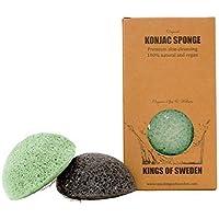 Kings of Sweden Spugna Konjac al carbone di bambù e aloe vera (2 x confezione) spugnetta di pulizia per pelli impure, 100% naturale, vegana, sostenibile, perché completamente biodegradabile