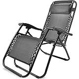Merax Sonnenliege Strandstuhl Relaxliege Gartenliege Liegestuhl mit Kopfkissen klappbar und verstellbar Gartenliege Relax-Liegestuhl (1, Schwarz)