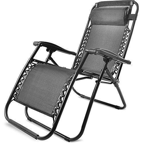 Merax Sonnenliege mit Kopfkissen klappbar und Verstellbar Gartenliege Relax-Liegestuhl (1, Schwarz)