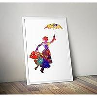 regalos impresos de la impresión del cartel de la acuarela de Mary poppins - Carteles alternativos de la TV/de la película en diversos tamaños (capítulo no incluido)