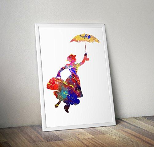 Mary Poppins inspiriert Aquarell Poster Print Geschenke - Alternative TV/Movie Poster in verschiedenen Größen (Rahmen nicht im Lieferumfang ()