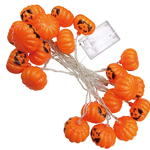 (Prevently Lichterkette außen Halloween Lichterkette LED Schnurlicht Halloween,2.5米20 Halloween Party Ghost Festival Kürbis LED Batterie Laterne String Dekoration)