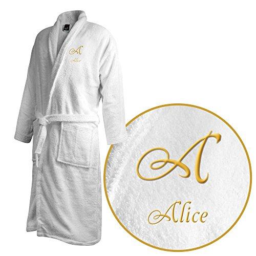Bademantel mit Namen Alice bestickt - Initialien und Name als Monogramm-Stick - Größe wählen White