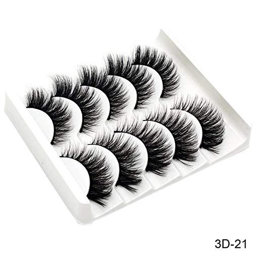 JMWW 5 Pairs 3D Haar Falsche Wimpern Natürliche/Starke Lange Wimpern Wispy Make-Up Beauty Extension Tools 3D-21 (Extension Lange Haar Natürliche)