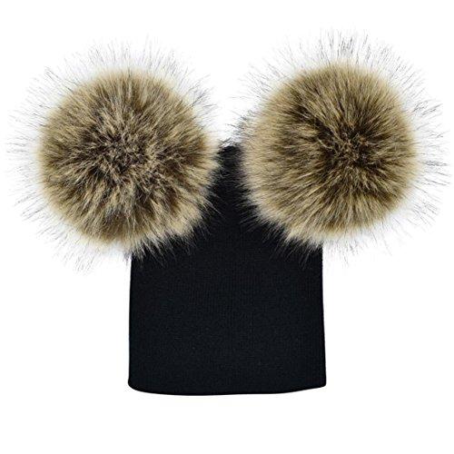 AMUSTER Winter Baby Kinder Mädchen Jungen Warme Hüte Mützen Wintermütze Strick Winterhüte strickmütze für 6 Monate-5 Jahre alt (One size, F)