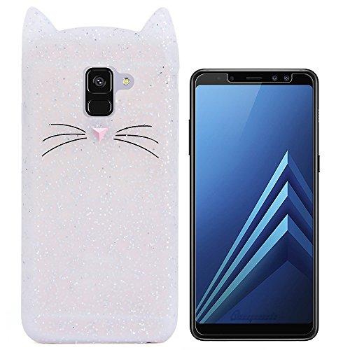 Hcheg Hülle für Samsung Galaxy A8 2018 Duos (A530F/DS) - 3D Silikon Backcover Case Handy Schutzhülle - Cover Klar Katze Design Kristallfarbe + 1X Screen Protector