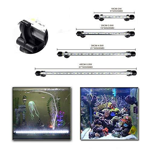 DOCEAN Aquarium Beleuchtung 27 LEDs Lampe weißlicht Lighting 48CM Leuchte für Fisch Tank mit EU Stecker und 5050SMD Licht Wasserdicht [Energieklasse A++]