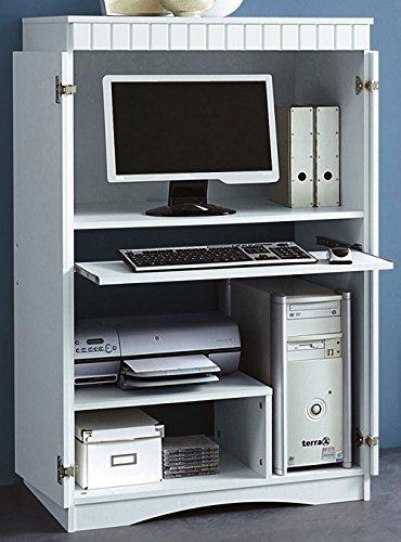 Büroschrank Computerschrank weiss mdf PC-Schrank weiß dekor - 447