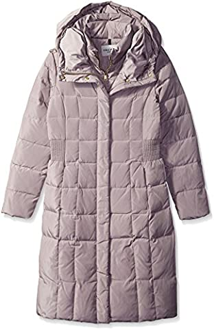 Cole Haan Women's Belted Down Coat with Side Waist Detail, Light Grey, Large