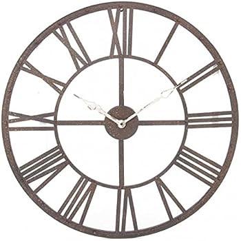 Grande horloge pendule murale en métal style vintage - Diamètre 70 cm - Coloris Marron effet vieilli