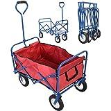 Bollerwagen Transportkarre HandwagenGerätewagen faltbar Gartenwagen Karre (Blau)