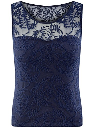 oodji Ultra Damen Spitzentop Blau (7900N)