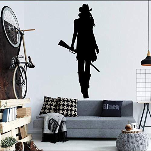 Cowgirl mit Wilder Gewehrpistole Silhouette Wandmalerei Zuhause Wohnzimmer cool kreativ dekorativ Wandtattoo blau 43x89cm (Cowgirl-folie)