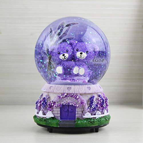 Veigu Nachtlicht Wasserkugel Schneekugel Kristallkugel Spieluhr Geschenk Harz Basis Lavender Bear a -