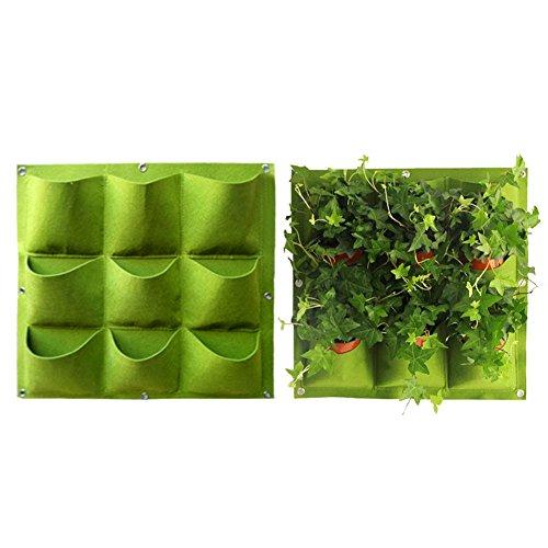 10 Pocket Wand (Yuccer Vertical Garden Übertopf, Wandmontage, 9Taschen Bepflanzen Taschen Kleiderbügel Outdoor Innen Gemüse Blumen in Container Töpfe 9 Pocket Grün)