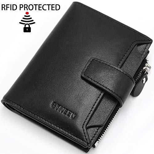 Leder Geldbörse Herren RFID Schutz BTNEEUHerren Portemonnaie viele Kartenfächer mit Münzfach, Männer Geldbeutel mit Reißverschluss mit 18 Kartenfächer, Leder Brieftasche Herren Klein (Schwarz) -