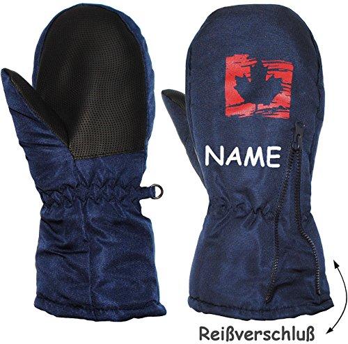 """Fausthandschuhe - mit Reißverschluß & langem Schaft - Gr. 11 bis 12 Jahre - """" dunkel blau - Blatt """" - incl. Name - LEICHT anzuziehen ! mit Daumen - Thermohandschuhe Fleece Futter - Kinderhandschuhe - Thermo gefüttert - Handschuh - wasserdicht + atmungsaktiv Thinsulate / Fausthandschuh Handschuhe - Reflektor - Kinder Jungen & Mädchen - Thermohandschuh - extra lang - Kind - Fäustlinge - dunkel blau"""