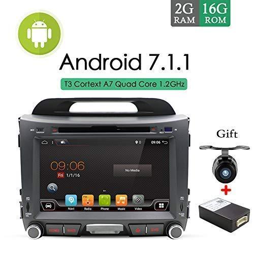 Écran tactile capacitif multimédia Android OS 7.1 20,3cm pour tableau de bord avec GPS lecteur MP3 MP4, radio stéréo, caméra pour Kia Sportage 2010–2014