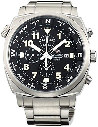 Orient Sporty Chronograph Quarz 100m Pilot Armbanduhr Schwarz tt17002b