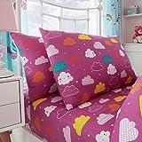 uarehome Kids Polycotton Uni Gefärbt Spannbetttuch und Bettwäsche-Sets mit Kissen Fall (Einhorn Märchen, Blech, Set)