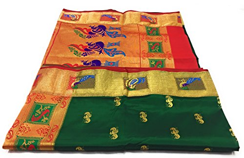 Hariom Paithani Art silk saree (hwdd29-5) Green with Red Blouse.