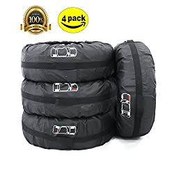 ELR Foldable 4x4 Spare Tire Covers 66 cm26 in Rain Resistant Tyres Tote Large Size Bag Wheel Protection Cover With Handle Fit 13