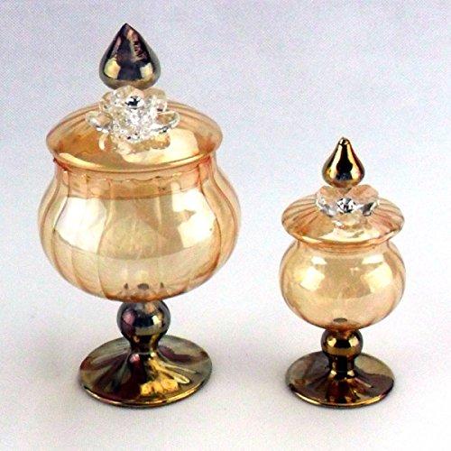 Bomboniere portagioie in vetro soffiato con fiore in cristallo (grande)