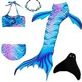 UrbanDesign Costume Da Bagno Coda di Sirena Per Nuotare Con Monopinna in Piscina, Per Bambina Ragazza (7-8 anni, Blue Land)