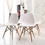 Minifair High Quality 4 X White Retro Designer Style Eiffel Inspired Side Dining Chair Lounge Living Room Office Chair