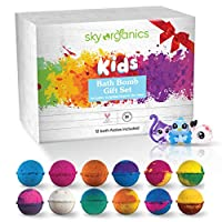 ‏‪Sky Organics Kids Bath Bombs Gift Set with Surprise Toys (Toys are Loose in Box) Fun Assorted Colored Bath Fizzies Kid Safe, Gender Neutral, Cruelty Free, Vegan, Gluten Free- Made in The USA, 12 ct‬‏