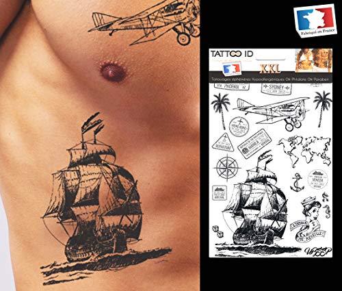 Tattoo, temporär, für Reisen, Boot, Flugzeug, Palme, Anker, Weltkarte, Tattoo ID XXL, hypoallergen, hergestellt in Frankreich, 1 Bogen 22 cm x 14,5 cm, Herren Damen