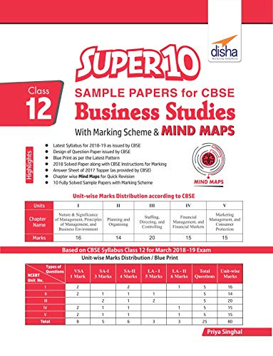 Super 10 Sample Papers for CBSE Class 12 Business Studies with Marking Scheme & Mindmaps